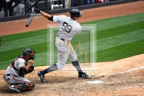 Yankees hot-hitting rookie outfielder, Aaron Judge, strikes out