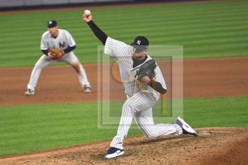 Yankees relief pitcher Dellin Betances strikes out designated hitter Matt Adams