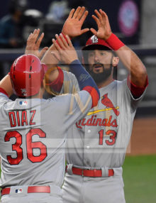 Cardinals first baseman Matt Carpenter receives high fives