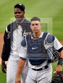 New York Yankees starting pitcher Michael Pineda and catcher Gary Sanchez