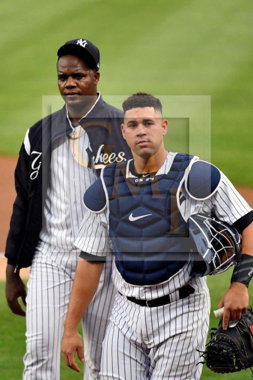 New York Yankees starting pitcher Michael Pineda and catcher Gary Sanchez