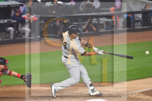 New York Yankees catcher GARY SANCHEZ hits the first of two home runs
