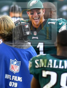 Eagles quarterback Carson Wentz shows the joy of victory