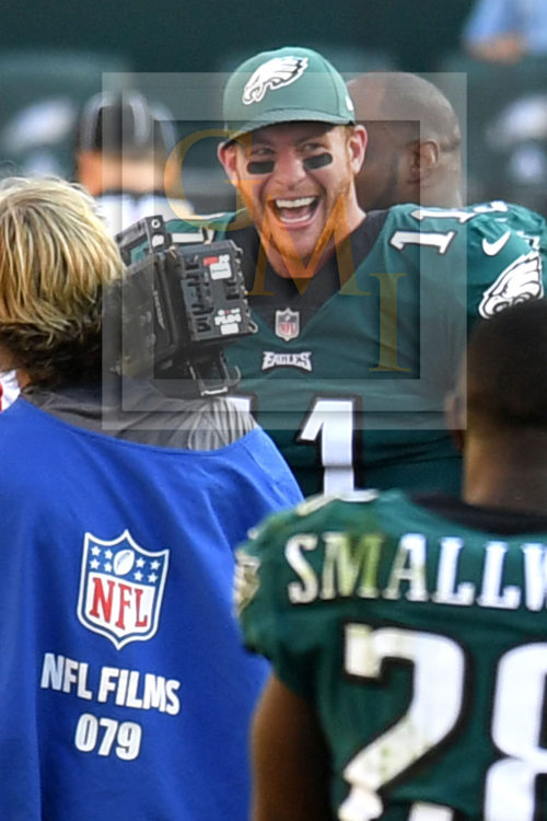 Eagles quarterback Carson Wentz shows the joy of victory