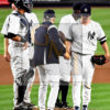 Yankees manager Joe Girardi takes the ball from Yankees starting pitcher Sonny Gray