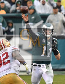 Philadelphia Eagles quarterback CARSON WENTZ completes pass to BRENT CELEK (Close Up Shot)