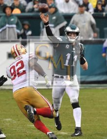 Philaadelphia Eagles quarterback CARSON WENTZ completes pass to BRENT CELEK