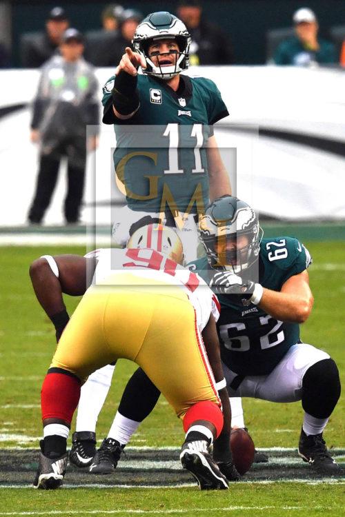 Philadelphia Eagles quarterback CARSON WENTZ points the way