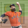 Astros DALLAS KEUCHEL pitches to Yanks Didi Gregorius