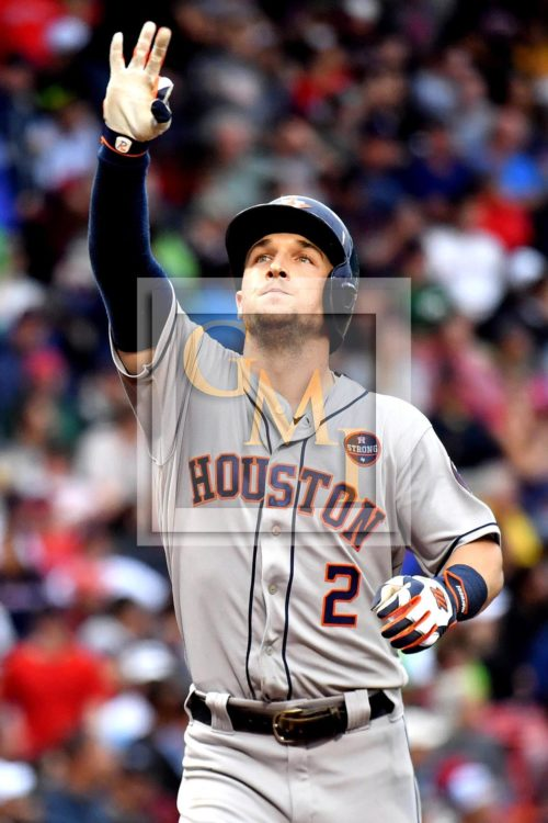Astros ALEX BREGMAN celebrates hitting the game tying home run