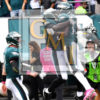 Eagles wide receiver NELSON AGHOLOR celebrates with LeGARRETTE BLOUNT