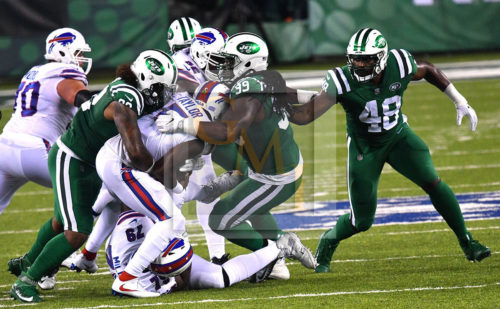 Jets defense sacks Buffalo Bills quarterback TYROD TAYLOR