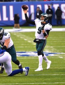 Eagles quarterback NICK FOLES completes pass to NELSON AGHOLOR