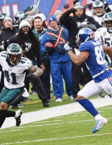 Eagles cornerback RONALD DARBY returns an intercepted pass