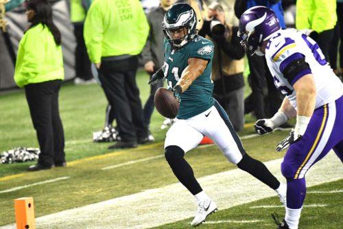Philadelphia Eagles cornerback Patrick Robinson returns an intercepted pass