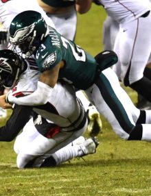 Philadelphia Eagles safety RODNEY McLEOD sacks Atlanta Falcons QB MATT RYAN