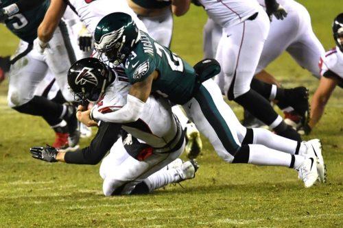 Philadelphia Eagles safety RODNEY McLEOD sacks Atlanta Falcons QB MATT RYAN