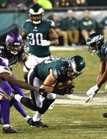 Philadelphia Eagles tight end Zach Ertz receives a pass from Eagles quarterback Nick Foles