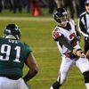 Philadelphia Eagles defensive end FLETCHER COX rushes Atlanta Falcons quarterback MATT RYAN