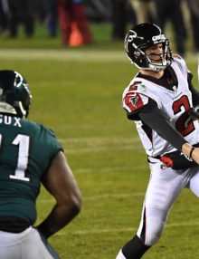 Philadelphia Eagles defensive end FLETCHER COX rushes Atlanta Falcons quarterback MATT RYAN