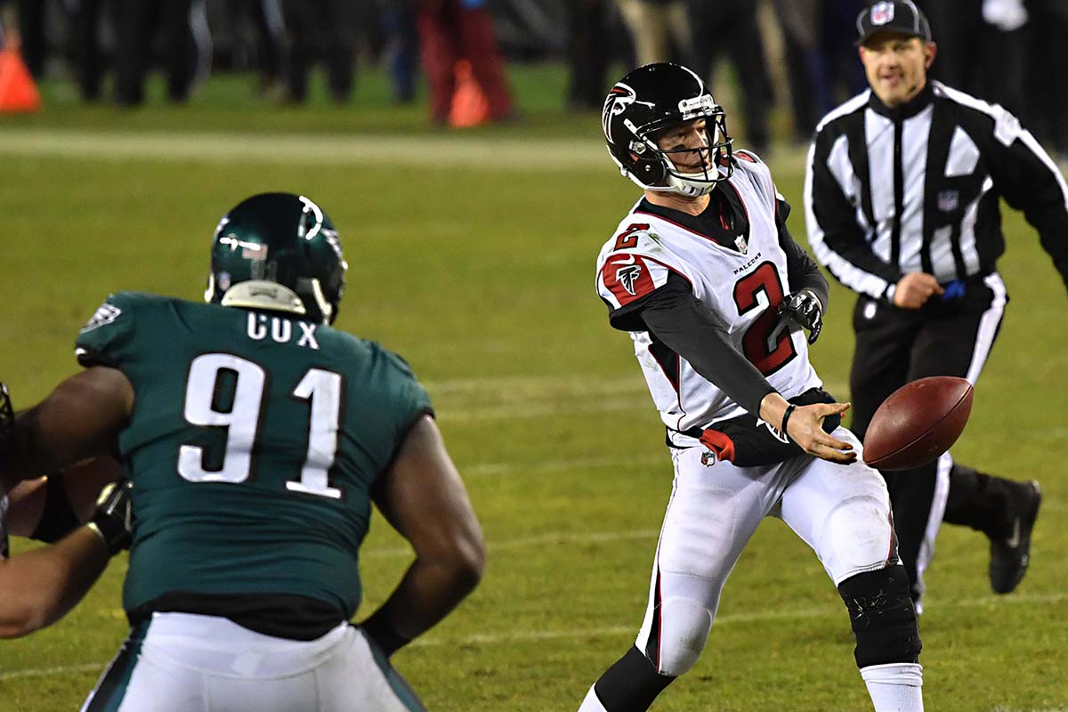 size 40 57ed8 b4e51 Philadelphia Eagles defensive end FLETCHER COX rushes Atlanta Falcons  quarterback MATT RYAN