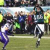Philadelphia Eagles tight end ZACH ERTZ leaps in the air to catch a first down