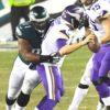 Philadelphia Eagles defensive tackle FLETCHER COX sacks Minnesota Vikings quarterback CASE KEENUM