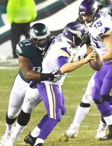 Philadelphia Eagles defensive tackle FLETCHER COX sacks Minnesota Vikings quarterback CASE KEENUM