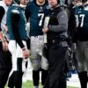 Eagles head coach DOUG PETERSON and quarterbacks NICK FOLES and CARSON WENTZ talk