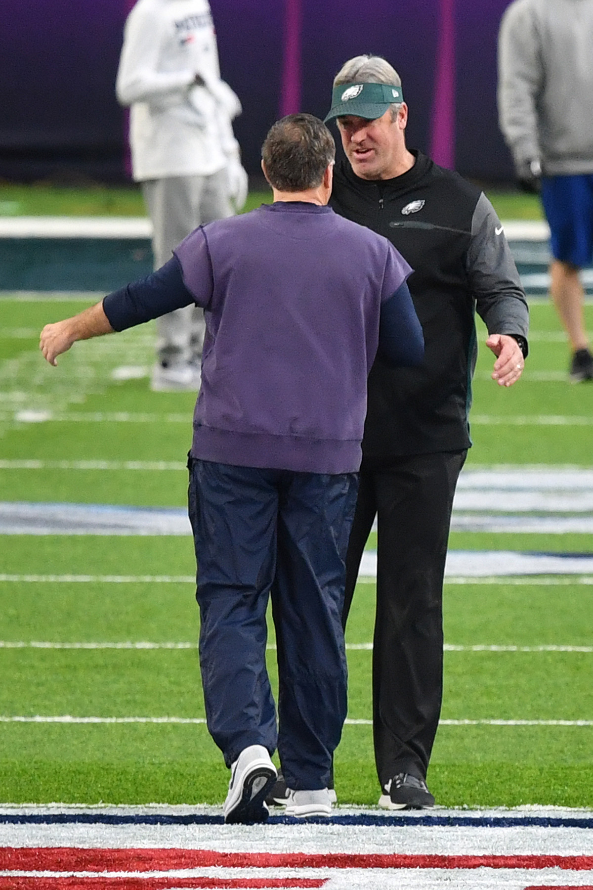 Doug Peterson and Bill Belichick before game