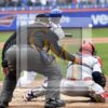 New York Mets Yoenis C'espedes hits a 2RBI single in the second