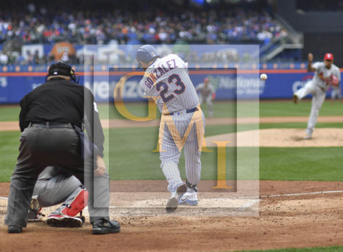 New York Mets Adrian Gonzalez hits an RBI double in the fifth