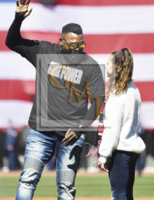 "David Ortiz joins Olympic gymnastics gold medalist Aly Raisman for the first ""play ball"" of the season"