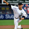 Yankees starting pitcher Masahiro Tanaka strikes out L.A. Angles Mike Trout