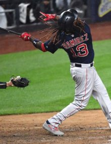 Red Sox designated hitter Hanley Rameriz hits a home run