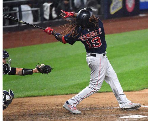 Red Sox designated hitter Hanley Rameriz hits a home run