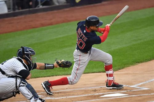 Red Sox outfielder Mookie Betts doubles to lead off the game