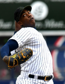 Yankees closer Aroldis Chapman retires L.A. Angels catcher Martin Maldonado