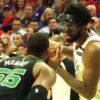 Philadelphia 76ers center Joel Embiid looks into the face of Boston Celtics Greg Monroe
