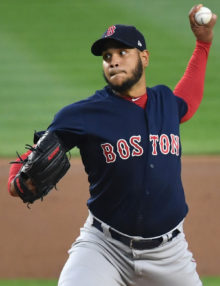 Red Sox starting pitcher Edwardo Rodriguez throws a strike