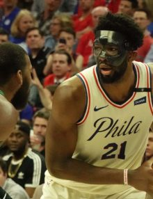 Philadelphia 76ers center Joel Embiid holds the ball