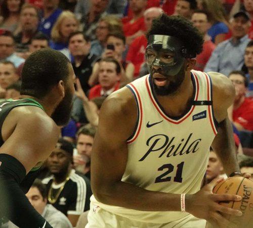 Philadelphia 76ers center Joel Embiid holds the ball
