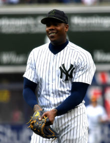 Yankees closer Aroldis Chapman flashes a big smile