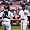Yankees catcher Gary Sanchez congratulates Aroldis Chapman