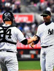 Yankees catcher Gary Sanchez congratulates Aroldis Chapman