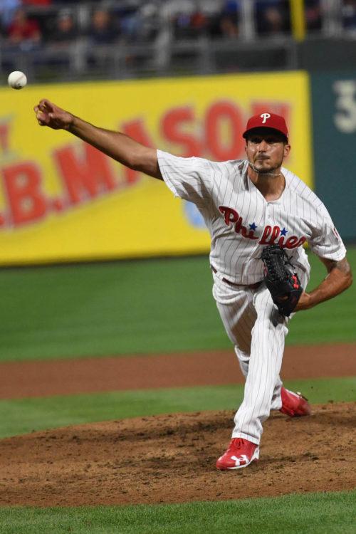 Phillies starting pitcher Zach Eflin throws a strike