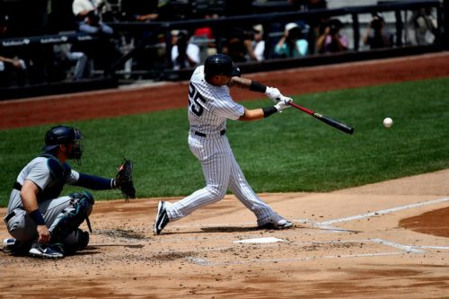 Yankees second baseman Gleyber Torres singles in the first inning