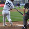 Yankees rookie second baseman Gleyber Torres hits his first career triple