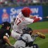 Phillies left fielder Rhys Hoskins hits a three run home run
