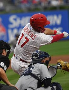 Phillies left fielder Rhys Hoskins hits a three run home run